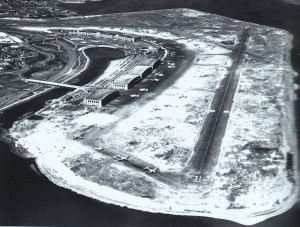 This 1946 aerial view of LaGuardia Airport shows its two active runways and space for expansion. LaGuardia was the busiest airport in the country, handling more than 197,000 flights that year.