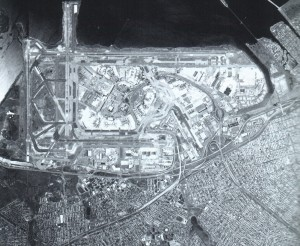 An aerial view of John F. Kennedy in 1995 showed very little vacant land. The airport sits on the marshlands of Jamaica Bay.