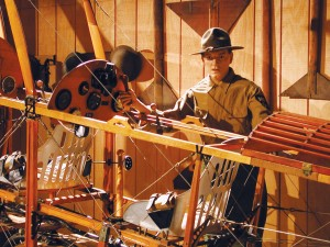 The World War I exhibit displays the fledgling aircraft of the time. Visitors can see that this Jenny, stripped of its fabric fuselage, was a very fragile machine.