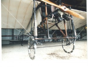 This fragile Bleriot 11 is identical to the plane Harriet Quimby used to earn her pilot's license. Initially, the Wright brothers didn't want this aircraft to compete in the 1910 International Aviation Meet.