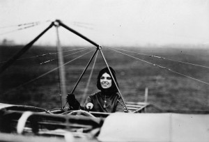 Harriet Quimby, in her Bleriot monoplane, was a star attraction after she earned her license. In order to take flying lessons on Long Island, Quimby had to disguise herself as a man.