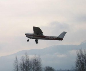 Christian Holtz takes off from Sequim Valley Airport in his Cessna 150, to deliver three coolers of blood to Boeing Field.