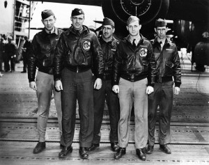 "Doolittle Raiders, from left: Lt. William Pound Jr., navigator; William ""Bill"" Bower, pilot; Staff Sergeant Omer Duquette, engineer-gunner; Lt. Thadd Blanton, copilot; Technical Sergeant Waldo Bither, bombardier."