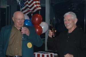 Jack Wilhite (right) proposes a toast to Bill Bower.