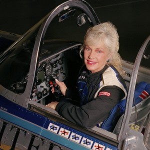 Julie Clark, in the cockpit of her T-34, has had successful careers in the airline industry and on the air-show circuit.