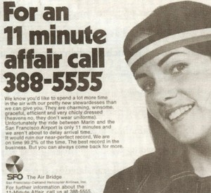 As part of her job with San Francisco and Oakland Helicopter Airlines, Julie Clark modeled for magazine advertisements.