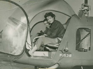 Lawrence Bell, producer of the first commercial helicopter, taught French pilot Jacqueline Auriol to fly his Bell 47. Auriol is WG # 8.