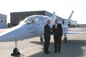 Aviation Technology Group Chairman George Bye welcomes U.S. Senator Wayne Allard.