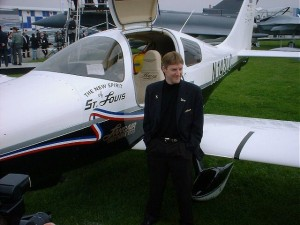 In 2002, Erik Lindbergh celebrated the 75th anniversary of Charles Lindbergh's famous flight across the Atlantic by repeating the journey in a Lancair Columbia 300.