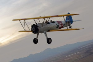 This World War II era Stearman, owned by Billy Walker, Joe Sottile and Joe Anderson, is a descendent of the black and crimson Flying Carpet, which took adventurer Richard Halliburton and his pilot Moye Stephens across North Africa/Asia in the early 1930s.