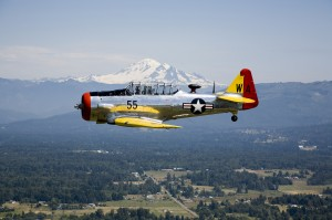 Bill Anders flies the Heritage Flight Museum's SNJ-4 over Whatcom County, Wash.