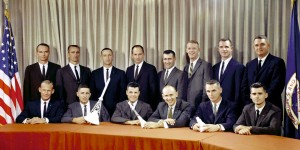 L to R, seated: Buzz Aldrin, Bill Anders, Charles Bassett, Alan Bean, Gene Cernan, Roger Chaffee. Standing: Michael Collins, Walt Cunningham, Donn Eisele, Theodore Freeman, Dick Gordon, Rusty Schweickart, David Scott, Clifton Williams.