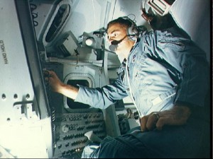 Bill Anders participates in a training exercise in the Apollo mission simulator in building 5, in the Manned Spacecraft Center in Houston.