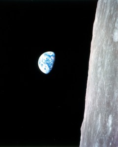 While in lunar orbit during Apollo 8, Bill Anders took this famous picture of earthrise. Although it's displayed here in its original orientation, it's more commonly viewed with the lunar surface at the bottom of the photo.