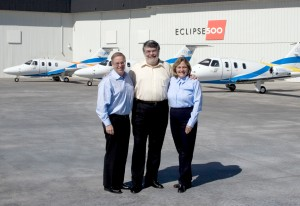 L to R: Eclipse Aviation CEO Vern Raburn and Ed and Nancy Iacobucci, cofounders of DayJet Corp., celebrated DayJet's first three Eclipse 500 deliveries on March 31. The aircraft will be used to train DayJet's pilots.