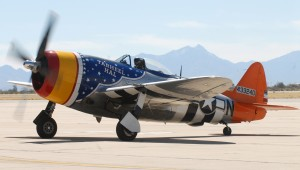 Tarheel Hal, a P-47 Thunderbolt, taxis down the runway after a practice session at Davis-Monthan AFB, during the recent Heritage Flight Conference.