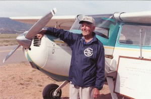 In the summer of 2003, Dean Baird made two solo flights in his 1948 Cessna 140. The first trip followed Lewis and Clark's trail; the second took him around the perimeter of the United States. Family and friends gave him a sendoff at Fremont County Airport