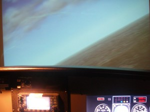 The simulator shows a right turn to get lined up for an approach to APA.