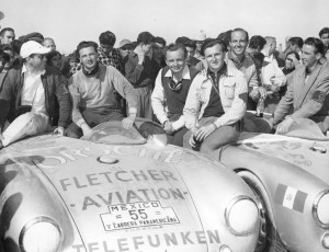 The victorious Porsche team, after the finish at Juarez in 1954, with the 550s of Hans Herrman and Jaroslav Juhan.