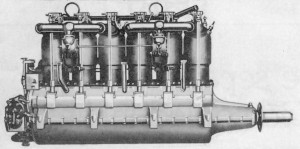 The Porsche-designed 180-hp Austro-Daimler aero engine of 1913 was the prototype of most German aircraft engines of World War I.