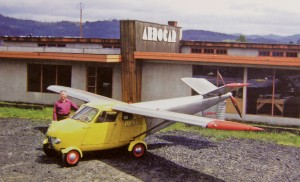 Molt Taylor shows off one of five Aerocars built at this factory in Longview, Wash.; all five can be found today at air museums or with private owners.
