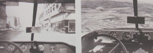 "Photos in ""A Drive in the Clouds"" show driver and pilot views through the windshield of the Aerocar, which provides a car steering wheel for both road and flight travel."