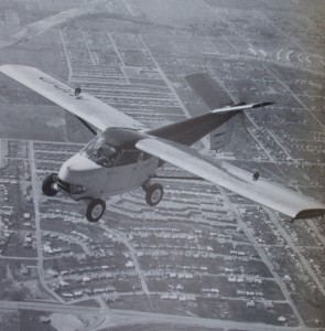 The prototype Aerocar, on an early flight over Longview, Wash., soon drew attention from news media film crews who contributed to the car-plane's early popularity.