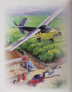 This painting depicts an Aerocar flying over another model at a gas station.