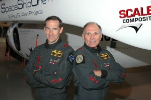 Astronaut pilots Brian Binnie (left) and Mike Melvill helped Burt Rutan win the $10 million Ansari X Prize by completing two manned space flights within two weeks, each piloting SS1.