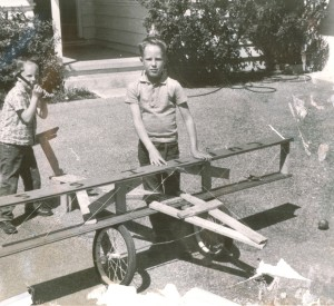Even at the age of 8, Kermit Weeks (shown with his younger brother Chris) was fascinated with aircraft.