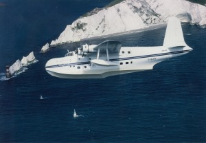 Kermit Weeks' Short Sunderland passes over the Needles, part of the Southern England Chalk Formation, on a test flight prior to flying across the Atlantic in 1993.