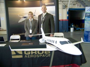 Joshua Kovac and Hannie Fisher of Grob Aerospace brought a large scale model of the new Grob SPn large light jet, manufactured entirely from carbon fiber composites. The world-renowned Porsche Design Studio designed the plane's luxurious interior.