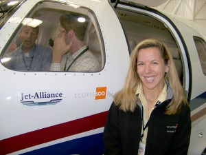 Sandra Clifford, Eclipse 500 flight crewmember, helped showcase this aircraft from Eclipse Aviation, now with more than 2,500 pre-sold.