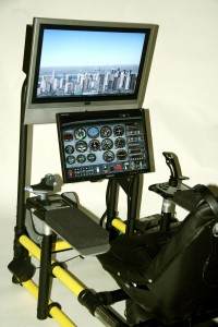 HotSeat's Combat Pro flight simulator comes equipped with two armrests, so the pilot can assume control of a high-powered jet fighter with the touch of a joystick and throttle.