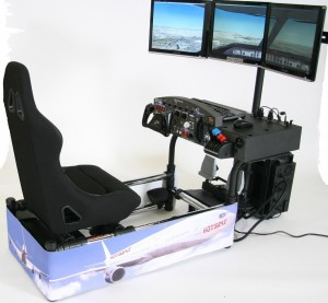 The HotSeat Ultimate Flight Sim is one serious simulator and comes fully equipped with flight yoke and pedals, a throttle, an FAA-approved cockpit module and radio stack.