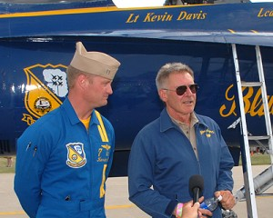 Pilot and actor Harrison Ford comments about his flight with Lt. Cmdr. Kevin Davis during EAA AirVenture.