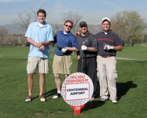L to R: Metro State College of Denver students David Faith, Mike Allen, Rich Zarco and Mike Trioette pause before a long par 4 on the back nine.