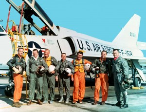 "Wally Schirra was one of seven pilots selected to be America's first astronauts. L to R: Scott Carpenter, Gordon Cooper, John Glenn Jr., Virgil ""Gus"" Grissom Jr., Wally Schirra Jr., Alan Shepard Jr. and Donald ""Deke"" Slayton pose in front of an F-106B."