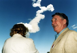 Wally Schirra and wife Josephine were among NASA's special guests to watch the liftoff of the Space Shuttle Columbia on April 4, 1997.