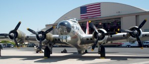 "The Experimental Aircraft Association's B-17G Aluminum Overcast, in front of the Syncro Aviation hangar at Van Nuys Airport, was on its yearly ""Keep It Flying"" tour."