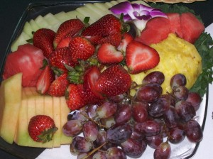 The bounty of California and Hawaii adorns the fruit tray at Isaac's Catering.