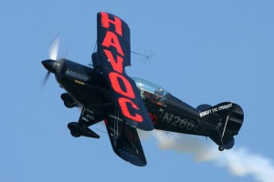In his Pitts S2B biplane, Havoc, Spencer Studerman takes a close look at the crowd.