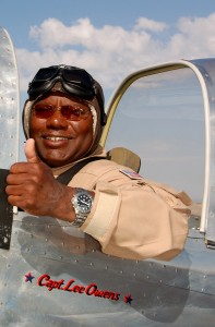Pilot Lee Owens wants to fly around the world as a tribute to the Tuskegee Airmen in his replica P-51, based at Glendale Airport. The aircraft is painted in the authentic markings of the Tuskegee Airmen, which includes the unique red tail.