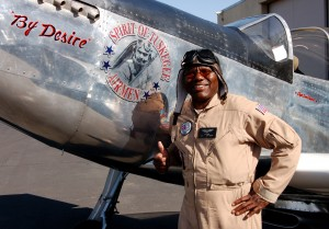 Lee Owens named his airplane By Desire, representing his desire to fly it around the world to commemorate the accomplishments of the Tuskegee Airmen. The 3/4 scale P-51 displays a picture of Cdr. Benjamin O. Davis Jr., the Tuskegee Airmen's first CO.
