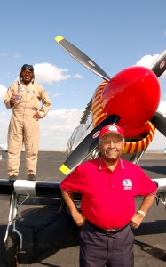 Lee Owens (left) and Lt. Col. Asa Herring often team up to promote the proposed global flight.