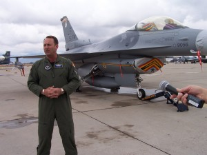 During Luke Days 2007, Brig. Gen. Tom Jones, 56th Fighter Wing commander (standing by his F-16C Fighting Falcon), helped celebrate the 60th anniversary of the U.S. Air Force.