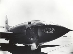 """On Oct. 14, 1947, the Bell X-1 became the first airplane to fly faster than the speed of sound. Flown by U.S. Air Force Capt. Charles """"Chuck"""" Yeager, the X-1 reached a speed of Mach 1.06 (700 mph) at an altitude of 43,000 feet."""