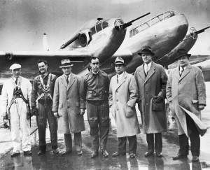 Larry Bell (third from right) poses with the FM-1 crew and Bell executives at Buffalo Airport in the late 1930s. Although the bomber-killer never saw combat, it proved that Bell Aircraft could build excellent planes.