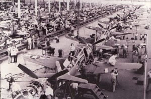 Workers are busy on the P-39 Airacobra assembly line at Bell Aircraft's Niagara Falls plant. By the time the war ended, Bell had produced 9,584 P-39s. A few examples managed to survive; at last count, three were still flying.