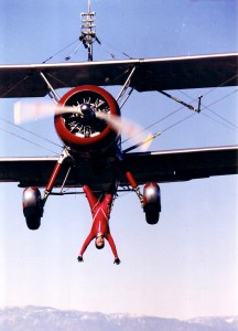 "Although Margaret Stivers no longer performs this stunt, her ""Gear Strut Hang"" was an impressive feat. She was the first woman to perform the aerobatic maneuver since the 1920s."